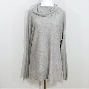 Michael Kors Cowl Neck Zip Shoulder Sweater Grey L